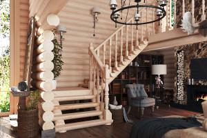 Лестницы из оцилиндрованного бревна