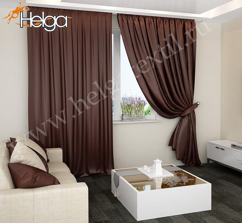 Шоколадные шторы для гостиной