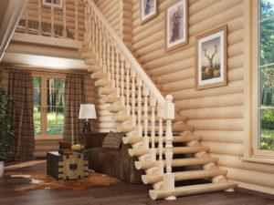 Лестница покрытая лаком