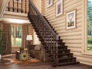 Лестница покрытая морилкой